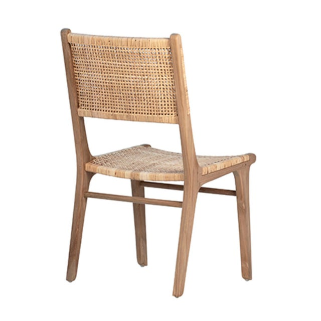 Contemporary Natural Teak & Wicker Dining Chair For Sale - Image 3 of 7