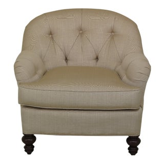 Jessica Charles Tufted Upholstered Club Chair For Sale