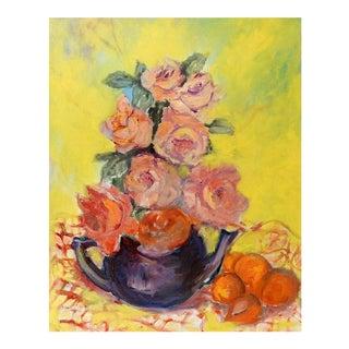 Teapot Roses & Oranges Still Life Oil Painting