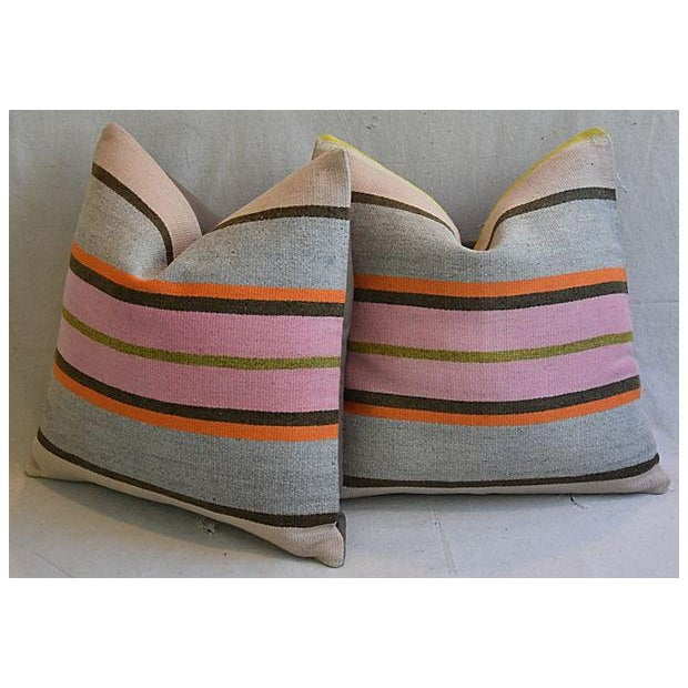 "20"" Custom Tailored Anatolian Turkish Kilim Wool Feather/Down Pillows - a Pair - Image 7 of 11"