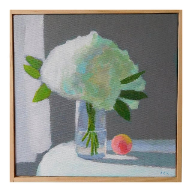 """""""White Hydrangea With a Peach"""" Painting by Anne Carrozza Remick For Sale"""