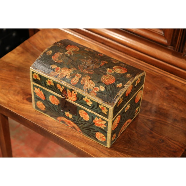 18th Century French Painted Trunk with Birds and Flowers from Normandy - Image 4 of 8