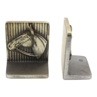 1940s American Classical Bruce Fox Brass Horse Bookends - a Pair For Sale