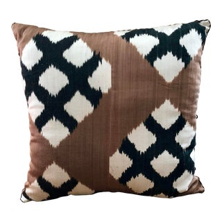 Madeline Weinrib Sable Simon Ikat Pillow For Sale