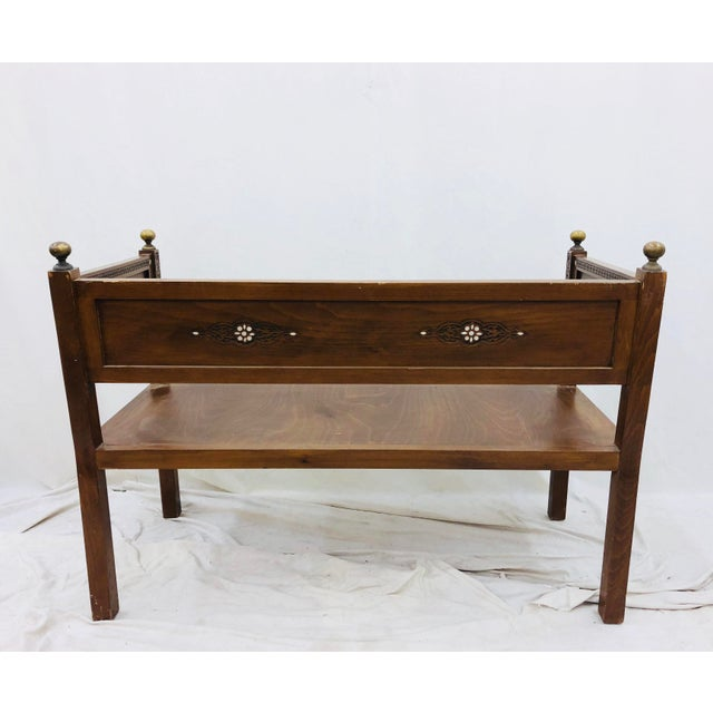 Antique Pearl & Brass Detail Wooden Bench For Sale - Image 10 of 12