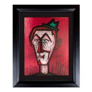 "Bernard Buffet Original Lithograph Ltd. Edition - ""The Clown on Red.."" W/Frame For Sale"
