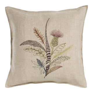 "Contemporary Thistle Linen Pillow Cover - 16"" x 16"" For Sale"