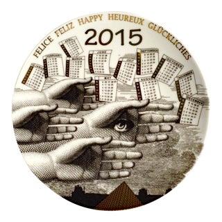Barnaba Fornasetti Porcelain Calendar Plate 2015. Number 150 of 700 made.