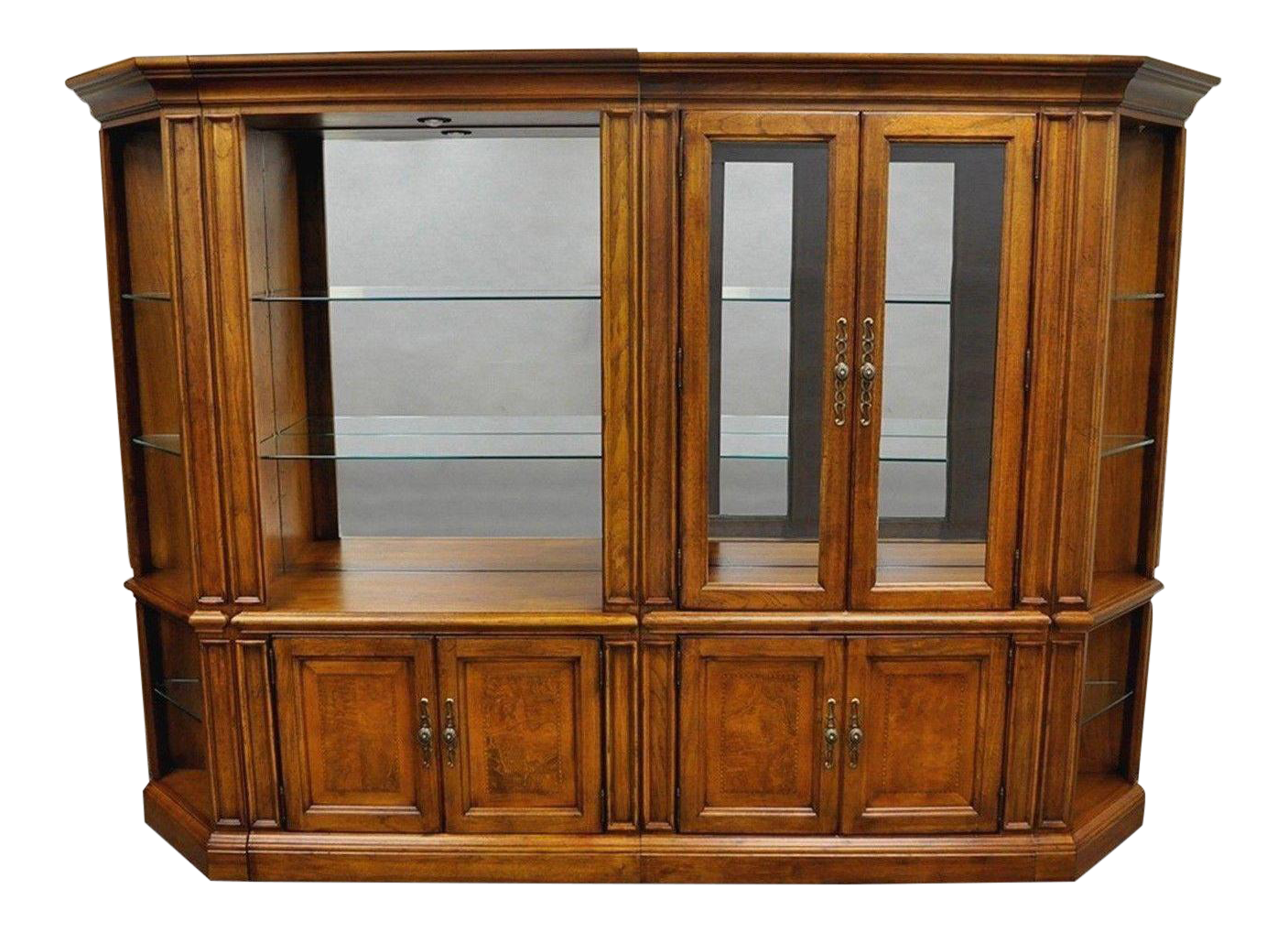 4 Pc Thomasville British Gentry Wall Unit Display Cabinet Bookcase  Bookshelf | Chairish