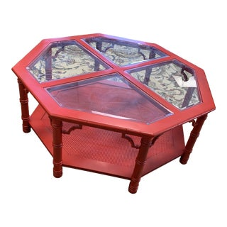 Vintage Red Mid-Century Chinoiserie 8-Sided Coffee Table For Sale