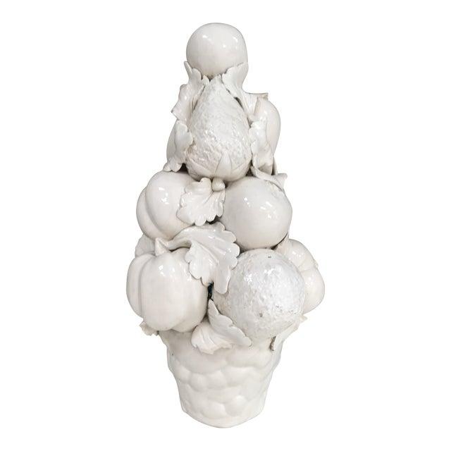 Mid-Century Modern White Majolica Fruit Vegetable Topiary Blanc De Chine Centerpiece For Sale