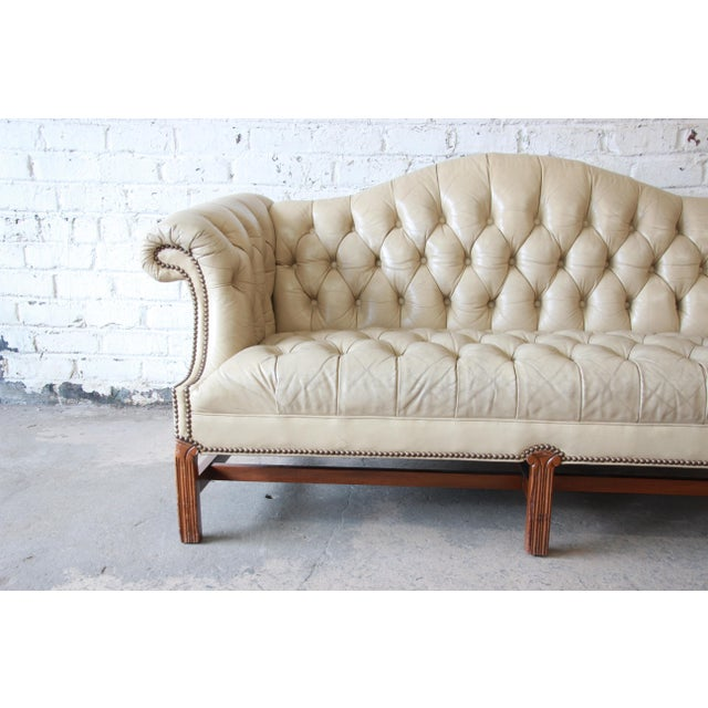 Late 20th Century Vintage Tufted Tan Leather Chesterfield Sofa For Sale - Image 5 of 10