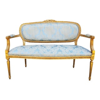 Antique Louis XVI Style French Giltwood Settee