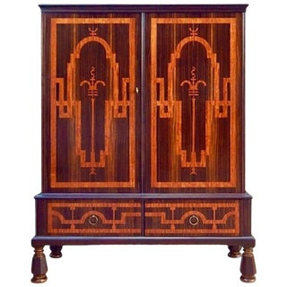 Swedish Art Deco Inlaid Rosewood Storage For Sale