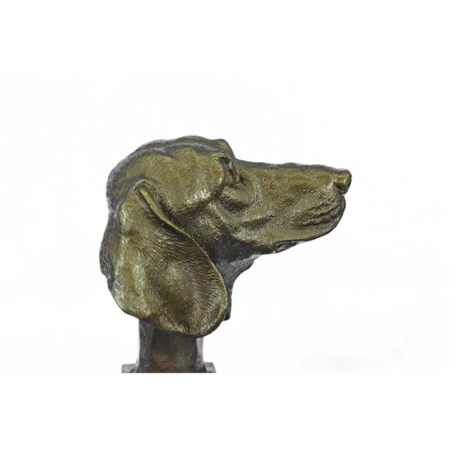 Dachshund Bust Bronze Sculpture For Sale - Image 9 of 10