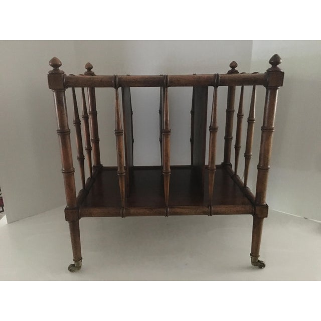 Vintage Burl Wood Bamboo Side Table Magazine Rack For Sale In Detroit - Image 6 of 11