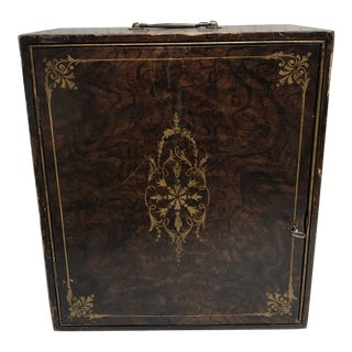 "Antique English ""Inlaid"" Faux Bois Medicine Cabinet For Sale"