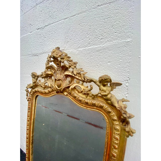 Late 18th Century French Giltwood Carved Flowers and Cherub Louis Style Mirror For Sale - Image 5 of 13