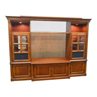 Hooker Furniture Large Cherry Entertainment TV Unit w/ Curio Display Cabinets For Sale