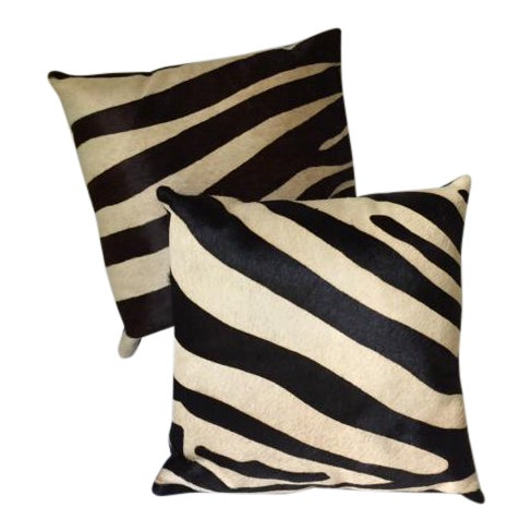 Zebra Printed Hide Pillows - a Pair - Image 1 of 8