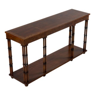 1970s Mid-Century Modern Baker Walnut Burl Faux Bamboo Console Table For Sale