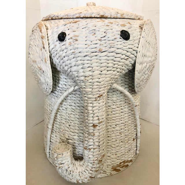 Wicker XL Elephant Basket With Lid For Sale - Image 7 of 11
