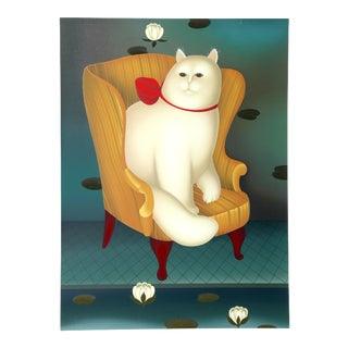 "Igor Galanin, "" Cat in a Chair"", Animal Folk Screenprint For Sale"