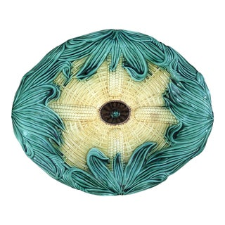 Antique Majolica Corn Platter by Adams and Bromley For Sale