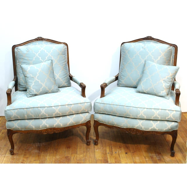 French Louis XV Provincial Style Bergere Chairs For Sale - Image 11 of 11