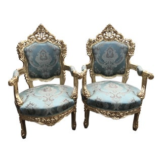 1940s Vintage Italian Rococo/Baroque Style Chairs- A Pair For Sale