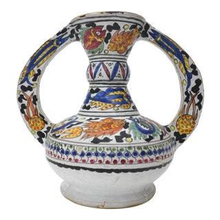 Large Vintage Turkish Iznik Islamic Pottery Vase With Sea-Life For Sale