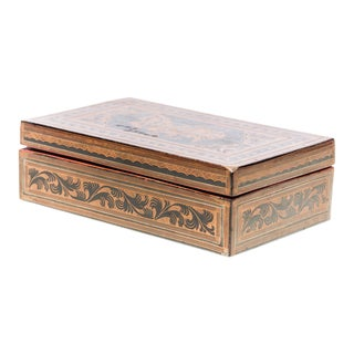 Asian Antique Hand-Painted Red Burmese Lacquered Box With Inscriptions For Sale