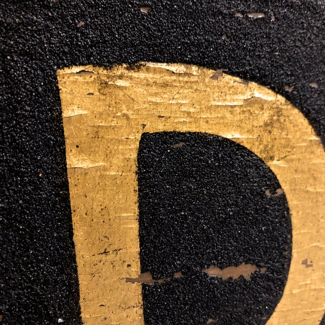 Gold 1980s Long Wood Black Sand and Gilt 15' Trade Sign For Sale - Image 8 of 11