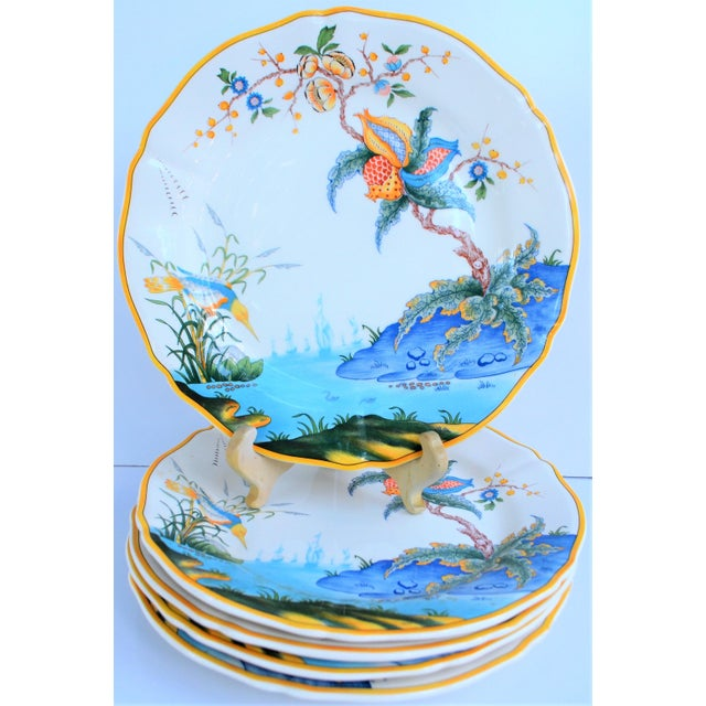 This is a set of hand painted porcelain plates made by the French company Gien in the Caraibes pattern. These are small...