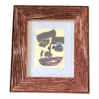 Original Contemporary Robert Cooke Abstract Face Painting Barn Wood Frame For Sale