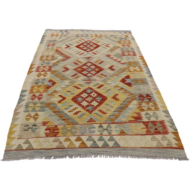 20th Century Boho Chic Afghani Shirvan Kilim Rug With Tribal Style For Sale - Image 11 of 11