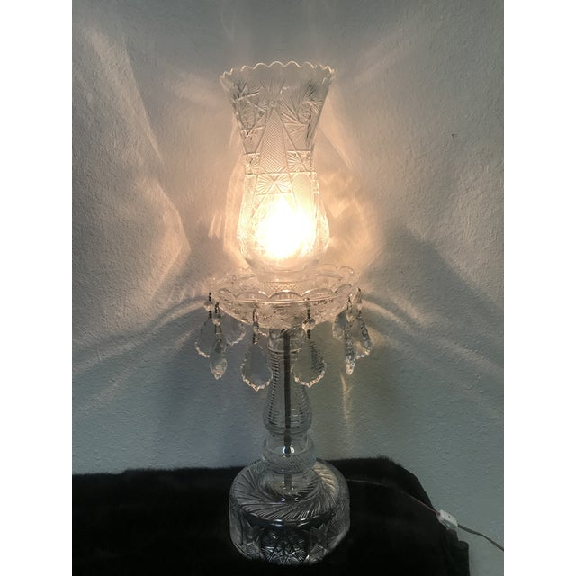 Art Deco Vintage Hand Signed Cut Crystal 2 Piece Hurricane Table Lamp For Sale - Image 3 of 13