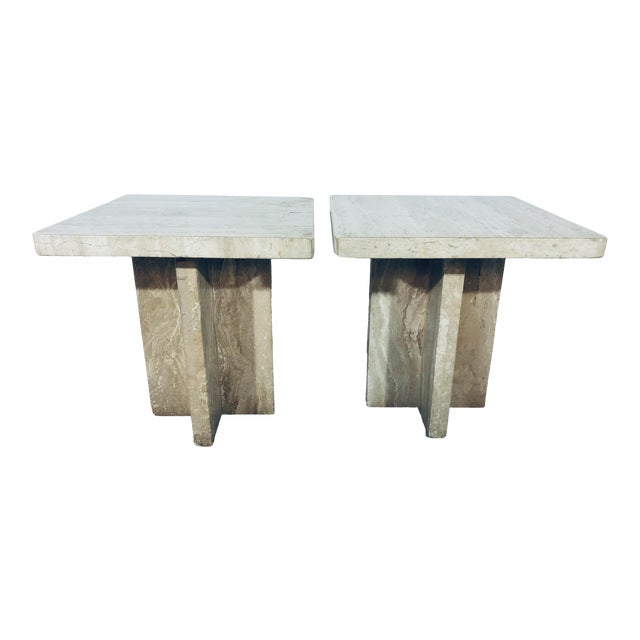 1970s Italian Travertine Side Tables - a Pair For Sale