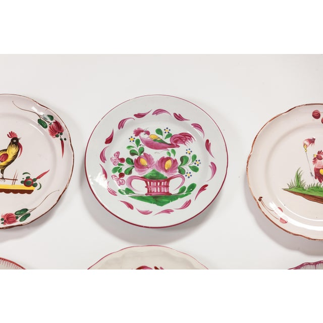 Americana 6 Piece Rooster Themed Pottery Plates For Sale - Image 3 of 8