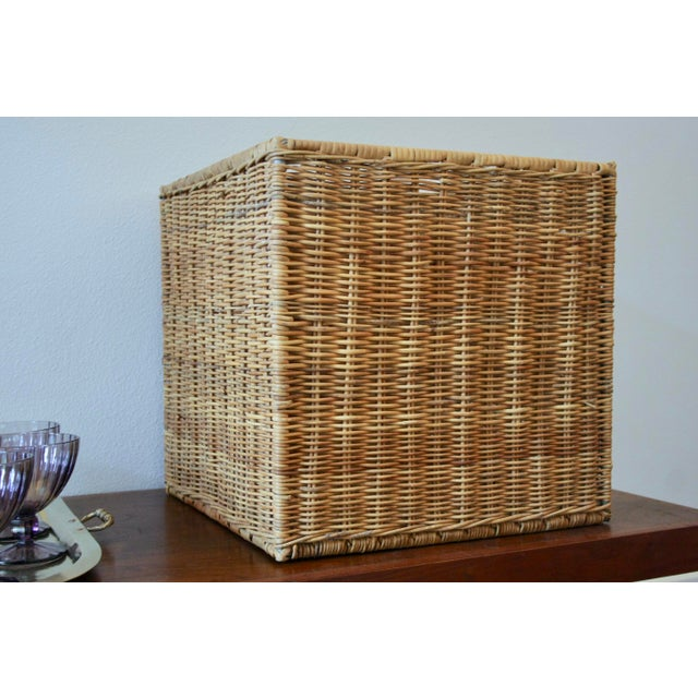 1990s Modernist Wicker Cube Planter / Side Table For Sale - Image 5 of 13