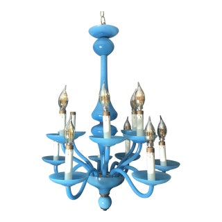 Opaline Blue Glass Twelve Arm Chandelier For Sale