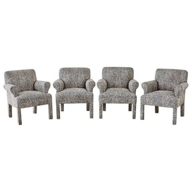Set of Four Cheetah Leopard Upholstered Club Chairs For Sale - Image 13 of 13