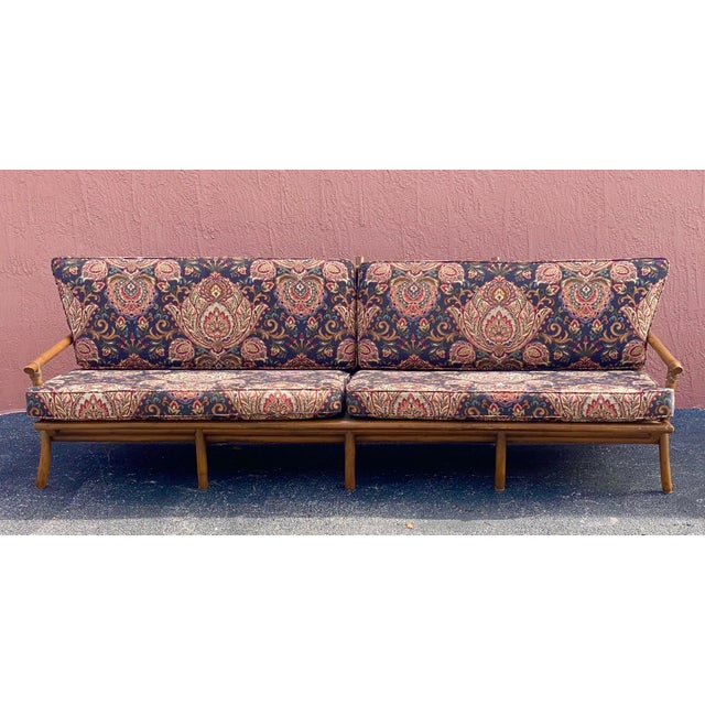Vintage Bamboo Long Sofa in the Manner of John Wisner for Ficks Reed For Sale - Image 9 of 9