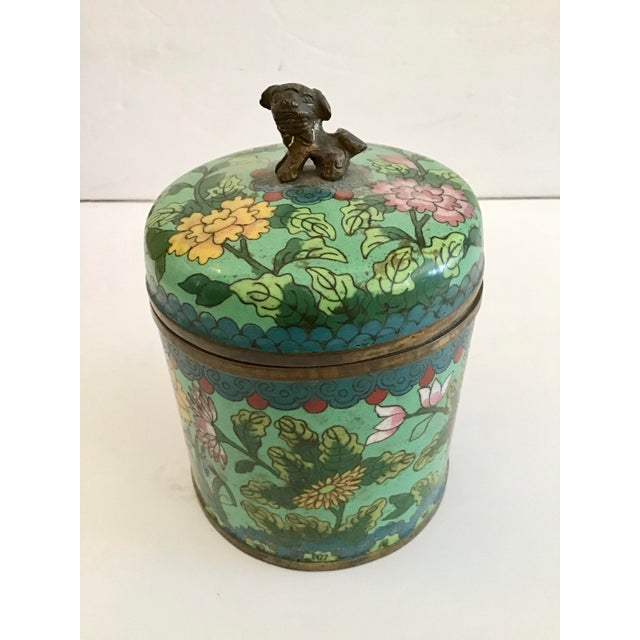 Traditional Mid 19th Century Green Cloisonné Covered Jar For Sale - Image 3 of 8