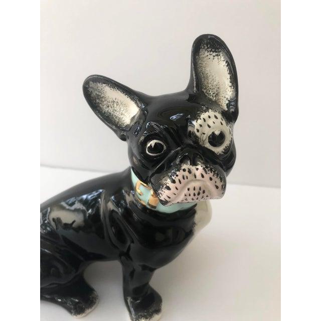 Boho Chic Vintage Black and White Ceramic French Bulldog For Sale - Image 3 of 10