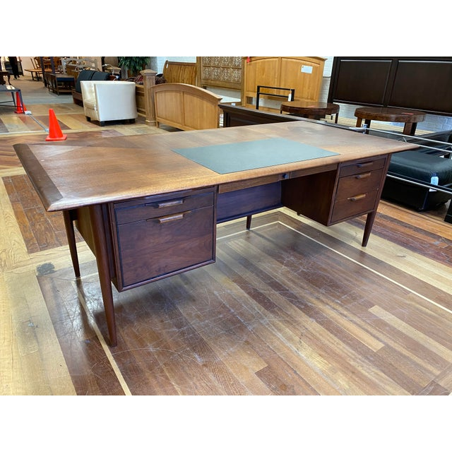 Mid 20th Century Alma Walnut + Mahogany Castilian Series Desk For Sale - Image 12 of 13