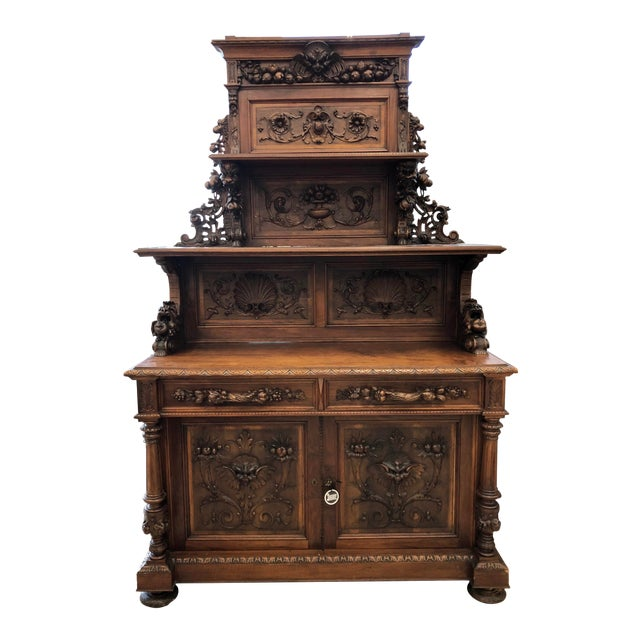19th Century St. Hubert French Louis XIII Carved Walnut Buffet For Sale