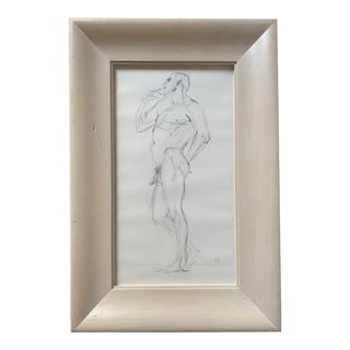 Vintage Nude Figure, Graphite on Paper, Signed Sfb For Sale