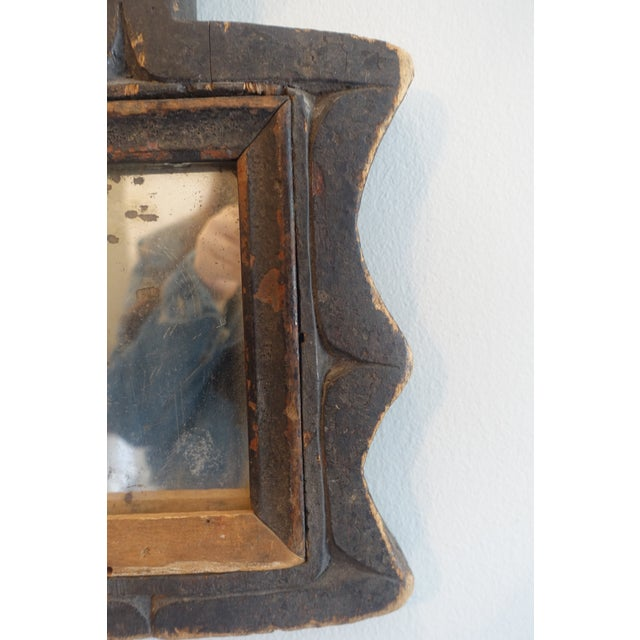 Brown Primitive Wood Mirror For Sale - Image 8 of 13