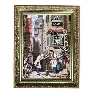 Framed Needlepoint of a Romantic European Scene For Sale